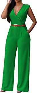 Pink Queen Women's Sleeveless V Neck Long Loose Belted Jumpsuits Rompers