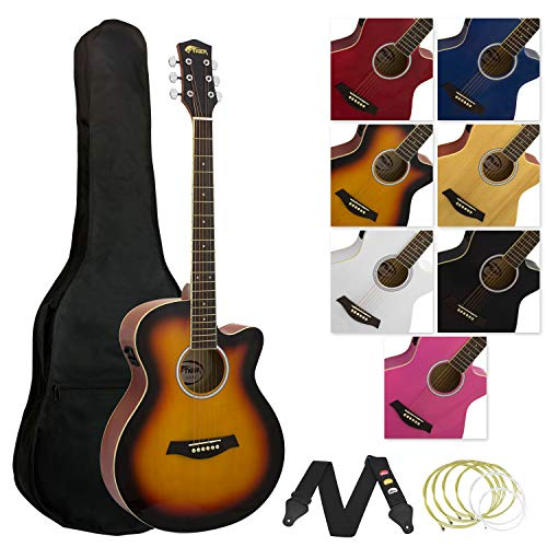 Tiger Full Size Electro Acoustic Guitar Package for Beginners with Built In...