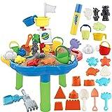 deAO Mesa de Agua y Arena Mesita Infantil para Juegos y Actividades Infantiles al Exterior Incluye Accesorios y Moldes con Diseño Multicolor
