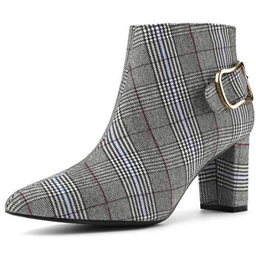 Allegra K Damen Spitzen Toe Blockabsatz Schnallendekor Kariert Ankle Boots Stiefel Schwarz Weiß 38.5