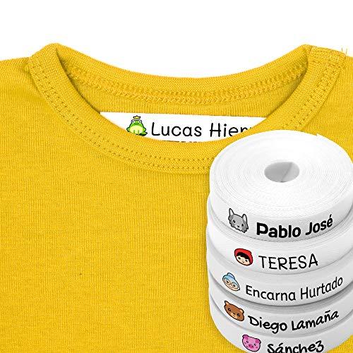 100 Etiquetas Personalizadas para ropa con Icono en Color a seleccionar. Tela Blanca. (Fairy)