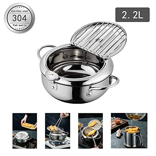 Deep Frying Pan,Japanese-Style Tempura Deep Fryer with Thermometer,Nonstick Stainless Steel Household Frying Pot,Dust-Proof Lid and Oil Drip Rack for Kitchen Cooking