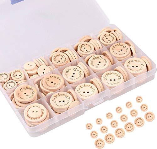 150 Holzknöpfe Natur mit handmade label zum Annähen Holz Knöpfe Kinder 25mm 20mm 15mm groß zum Nähen und Basteln