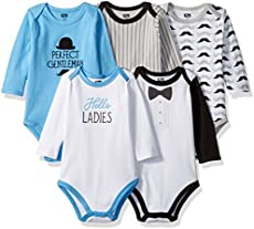 Hudson Baby Unisex Baby Cotton Long-sleeve Bodysuits, Perfect Gentlemen, 6-9 Months US