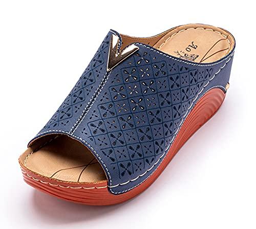 Zuecos Cuero para Mujer Sandalias de Cuña con Punta Abierta Zapatos de...