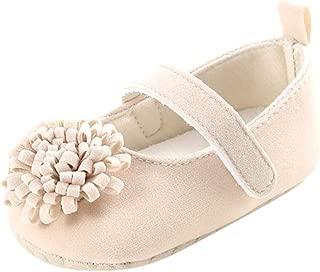 Weixinbuy Newborn Baby Girl's Flower Wedding Dress Mary Jane Flats Soft Sole Anti-Slip Princess Shoes