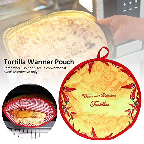 arthomer Bolsa para Calentar Tortillas de 12 Pulgadas, Bolsa de Aislamiento de Alimentos para Horno de microondas, Mantener Calientes Las Tortillas (2 Piezas) Supple