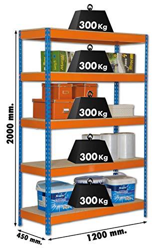 Estantería metálica de media carga Bricoforte 5 estantes Azul/Naranja/Madera Simonrack 2000x1200x450 mms - Estantería media carga - Estantería industrial - 300 Kgs de capacidad por estante