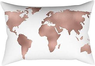 Skang Juego de cojín rectangular con diseño de mapa de ojos de oro rosa rosa para decoración del hogar (30 cm x 50 cm)