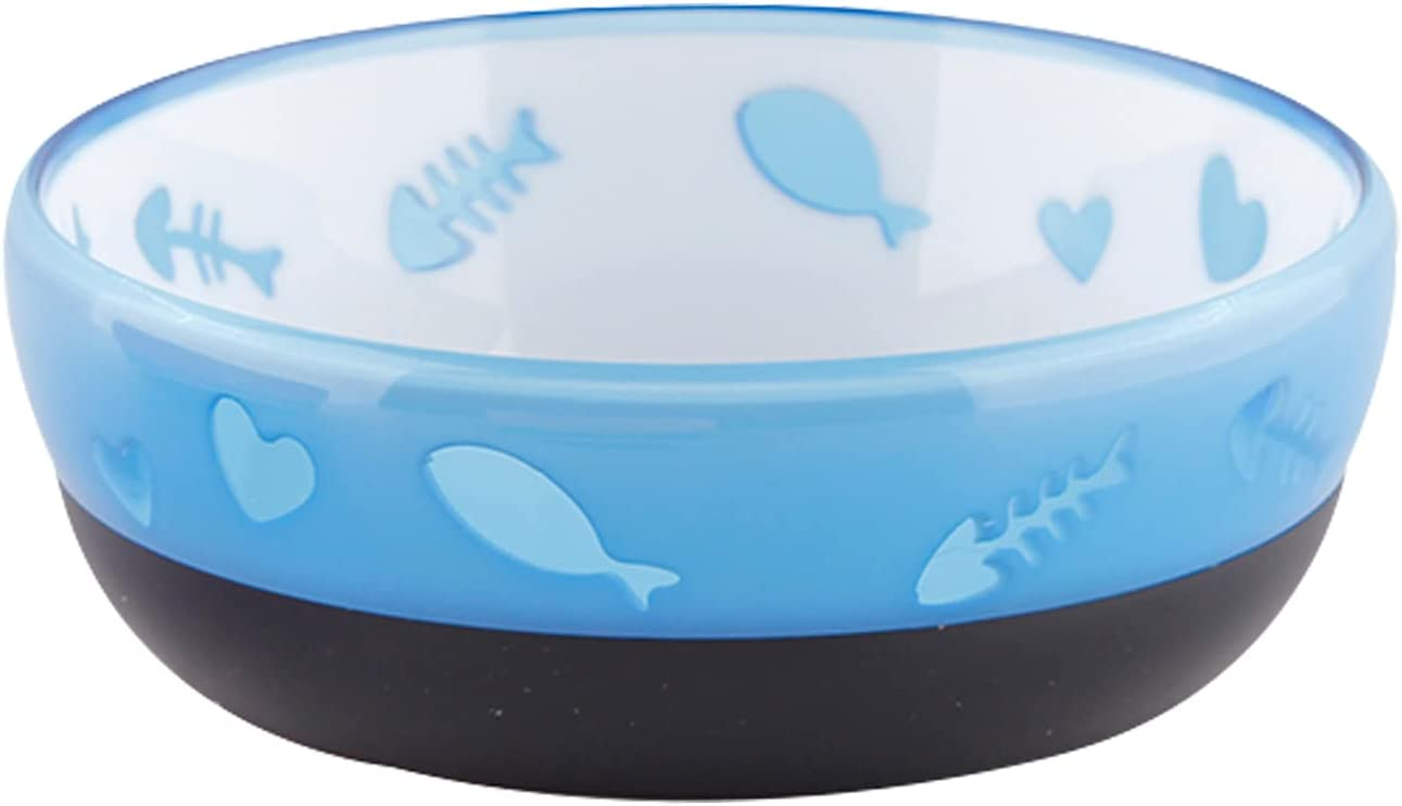 All for Paws Modern Cat Love Feeder Bowl, Cat Food Water Bowl for Small Cats, 190ML (Blue)