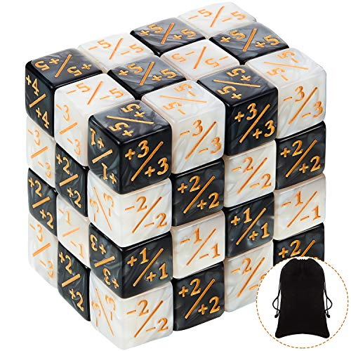 48 Pieces Dice Counters Token Dice Loyalty Dice Marble D6 Dice Cube Compatible with MTG, CCG, Card...