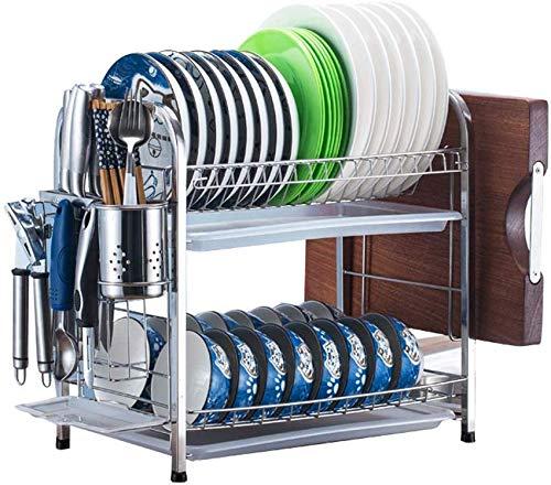 FEE-ZC Praktisches Geschirrtrocknergestell aus Edelstahl 304, Schneidebretthalter und Abtropffläche für Küchenarbeitsplatte, Silber, A