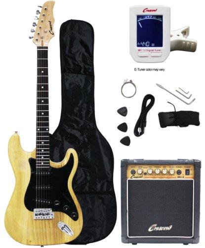 Crescent Electric Guitar Starter Kit - Natural Color (Includes Amp & Crescents Digital E-Tuner)