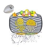 BRUNOKO Organizador de Juguetes para el Baño + Alargador de Grifo para Niños 2 en 1 - Cesta Esquinera para Guardar Juguetes en el Baño - Bolsa Almacenamiento Colgante de Juguetes - Diseñado en España