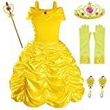 Princess Costume for Girls Birthday Party Fancy Dress Up with Accessories(Crown+Wand+Earrings+Gloves) 6-7 Years(135cm) Yellow