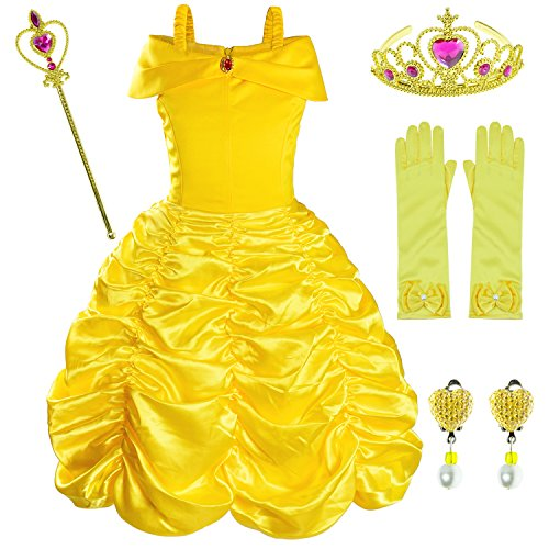 Disfraz de princesa para fiesta de cumpleaos para nias con accesorios (corona, varita, pendientes y guantes) de 2 a 10 aos