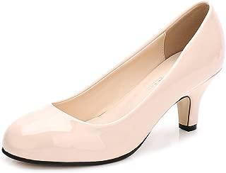 OCHENTA Women's Closed Round Toe Low Kitten Heel Slip On Dress Pump
