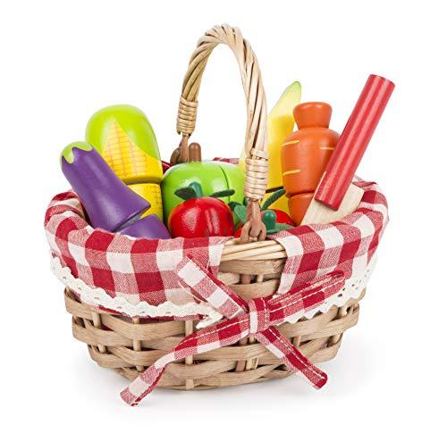 Small Foot 11281 Schneide-Obst und Gemüse aus Holz mit Klettverschlüssen, Kaufmannsladen-Zubehör Spielzeug, Mehrfarbig