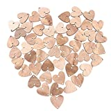 WINOMO 50pcs Heart Wooden Slices with 50 Iron Loops Set for Birthday Reminder Hanging Wooden Plaque Board DIY Calendar Accessories Home Decoration (Wood Grain)