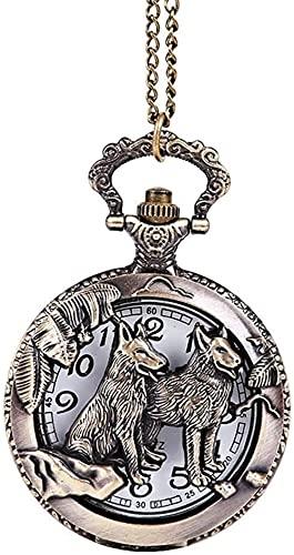 JZDH Reloj de Bolsillo, Retro, Bronce Tallado Zodiaco Animal Perro Estilo Vintage Perro Perro Bolsillo Reloj de Bolsillo Grande para Hombres Mujeres