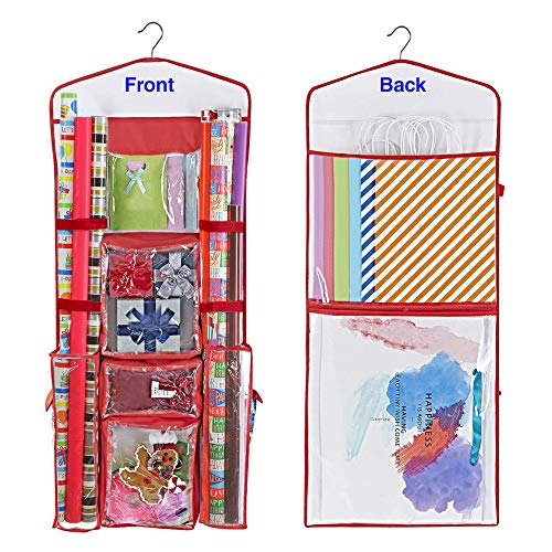 """ProPik Hanging Double Sided Wrapping Paper Storage Organizer With Multiple Pockets Organize Your Gift Wrap, Gift Bags Bows Ribbons 40""""X17"""" Fits 40 Inch Rolls Clear PVC Bag (Red)"""