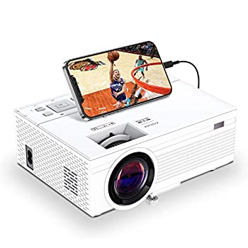 TOWOND Mini Projector for Outdoor Movies 6500 Lux Portable Movie Projector for Outdoor Use 1080P Led Video Projector and 300 inch Display Compatible with iPhone,USB,Sticks,HDMI,Xbox