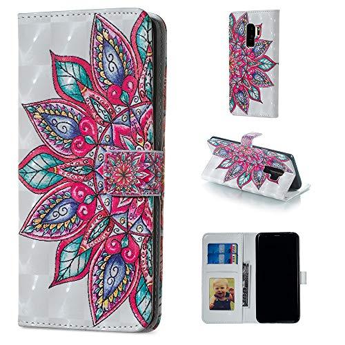 Artfeel Brieftasche Hülle für Samsung Galaxy S9 Plus,Bunt 3D Malerei Muster Leder Handytasche mit Kartenhalter,Flip Bookstyle Magnetverschluss Stand Schutzhülle-Mandala Blume