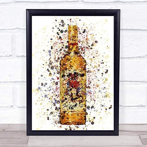 Honing Spice Rum fles muur kunst ingelijst Print Framed Brushed Gold Small