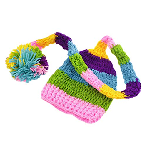 STOBOK Bébé Garçon Fille en Laine Au Crochet Tenues Tricotées Accessoires de Photographie Chapeau à Longue Queue Chapeau Nouveau-Né Chapeau Infantile Bonnet Tricoté Bébé Accessoires Photo