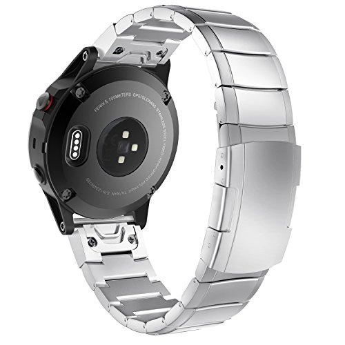 MoKo 22mm Armband für Garmin Fenix 6/6 Pro/5/5 Plus/Forerunner 935/945/Approach S60/S62/Quatix 5/Garmin Instinct Smartwatch, Quick Fit Edelstahl Uhrenarmband Gliederarmband Metallschließe, Silber