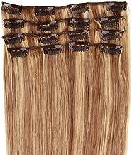 Beauty7 7 unidades 70g extensiones de clip de pelo natural pelucas cabello humano de color 8# y 613# de 15 pelugadas 38cm larga