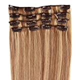Beauty7 7 unidades 70g extensiones de clip de pelo natural pelucas cabello humano de color 8# y 613#...