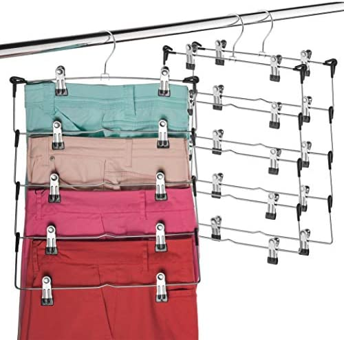 Space Saving 5 Tier Metal Skirt Hanger with Clips 3 Pack Hang 5 on 1 Gain 70 More Space Rubber product image