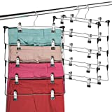 Space Saving 5 Tier Metal Skirt Hanger with Clips (3 Pack) Hang 5-on-1, Gain 70% More Spac...