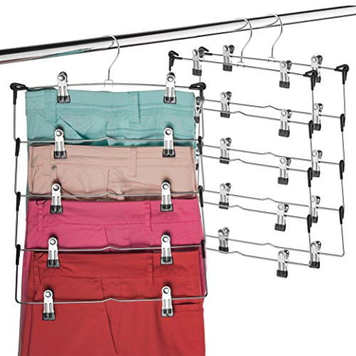 Space Saving 5 Tier Metal Skirt Hanger with Clips (3