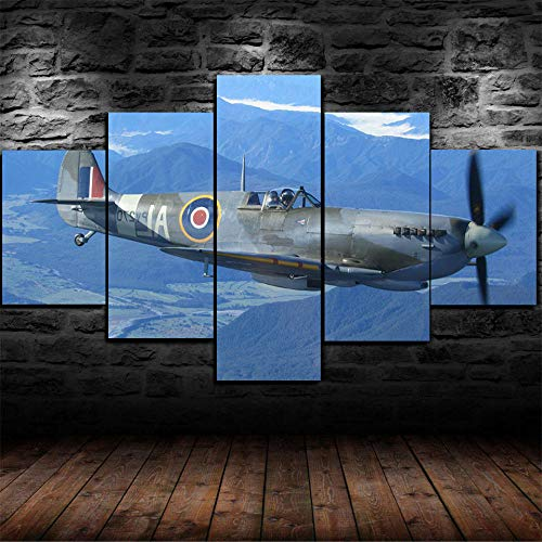 VENDISART,Modular Wall Sticker Decor,Prints On Canvas,5 Piece Painting,Mural Poster,Hd Print,Spitfire Fighter Plane World War 2 WW2,With Frame,Size-200 * 100CM