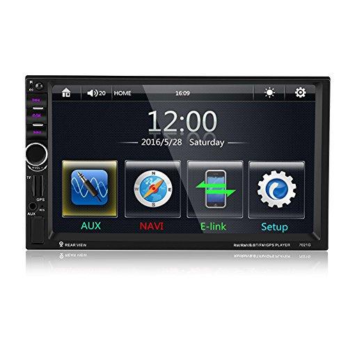 Elerose 7'Reproductor MP5 para automóvil, Pantalla táctil de alta definición Bluetooth Car Audio estéreo Video FM Radio GPS USB AUX Control remoto