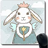 Mousepads Lop Pink Ballerina Niedliche Fee Prinzessin Rabbit Magic Little Zauberstab Bunny Blue Elf Ostern Ohren Design Längliche Form 18X22Cm Rutschfeste Gaming-Mausunterlage