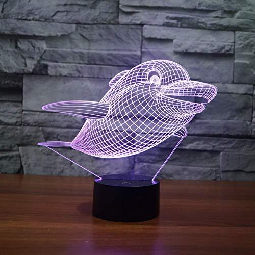 3D Illusion LED Dolphin animal mignon Veilleuse USB capteur tactile 7 couleurs NightLight Acrylique Atmosphère Lampes Cadeaux Fête lumière de nuit
