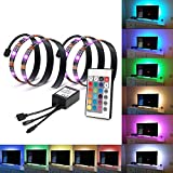Kohree LEDテープライト テレビ PC照明 リモコン付き 調光調色 USB接続 疲れ目に効く 2A/5V電源 カラフル 防水 (2段-1M)