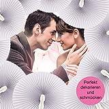 WeddingTree ® 60 x Handfächer Papier weiß faltbar – DIY- und Deko-Spaß für Groß und Klein – Gast-Geschenk Hochzeit Party Flamenco Bauch-Tanz - 5