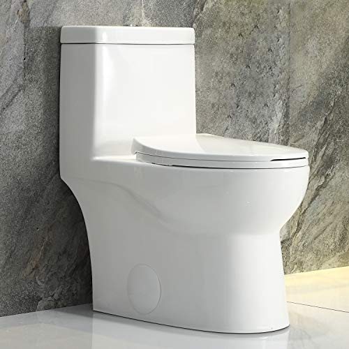 HOROW T0337W One Piece Toilet, White Ceramic Standard Comfort Height Elongated Toilet Dual Flush 1.28 GPF with Soft Closing and Quick Release Toilet Seat, 12'' Rough-in