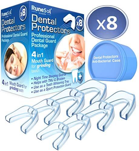 Runesol Ferula dental para bruxismo (8)| 100% libre de BPA | Tecnología de fácil moldeado | Paquete de seis protectores dentales en tres...