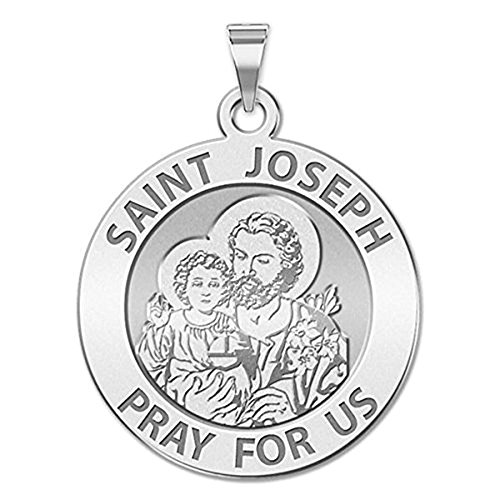 PicturesOnGold.com Saint Joseph Religious Medal - 3/4 Inch Size of a Nickel -Sterling Silver