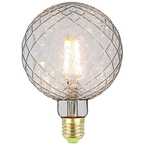 Tianfan Edison LED-Leuchtmittel, groß, G125, 4 W, 220 / 240 V, E27, Vintage-LED-Glühfaden, 350 lm, Warmweiß, glas, farblos, E27 4.00W 240.00V