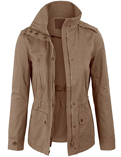 KOGMO Womens Military Anorak Safari Jacket with Elastic Waist Band-M-Khaki