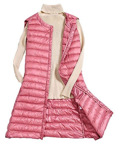 Quge Donna Giacche di Piuma Senza Maniche Piumino Trapuntato Packable Gilet Pink XL