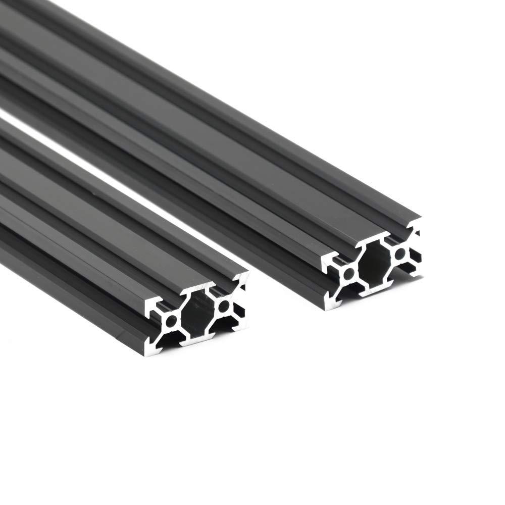 Iverntech Lot de 2 rails dextrusion lin/éaires de 300 mm 2040 V de type europ/éen en aluminium anodis/é noir pour imprimante 3D et machine de gravure laser CNC