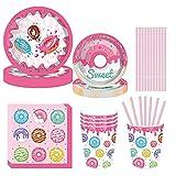 Xinqin 69 Pezzi Forniture per Feste Compleanno per Bambini , Donut Party Supplies,piatti,tazze,tovaglioli,cannucce,Per Decorazioni Festa Compleanno Ciambella