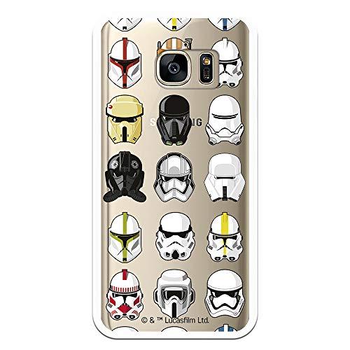 Funda para Samsung Galaxy S7 Oficial de Star Wars Patrón Cascos para Proteger tu móvil. Carcasa para Samsung de Silicona Flexible con Licencia Oficial de Star Wars.